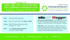 Flyer image for Invitation to Seba Cable Test Van & Portable Test Equipment Demo